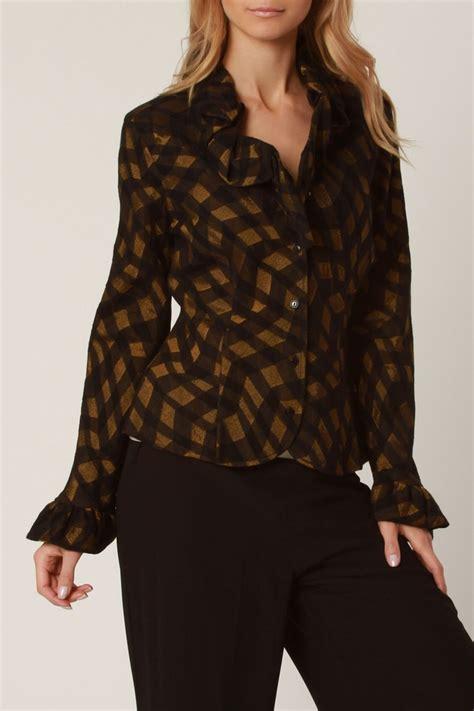 black and gold blouse metallic black gold ruffle blouse