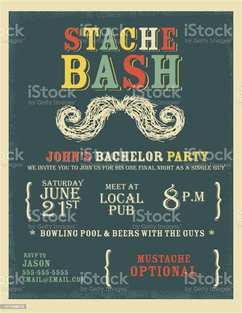Whimsical And Colorful Bachelor Party Invitation Design