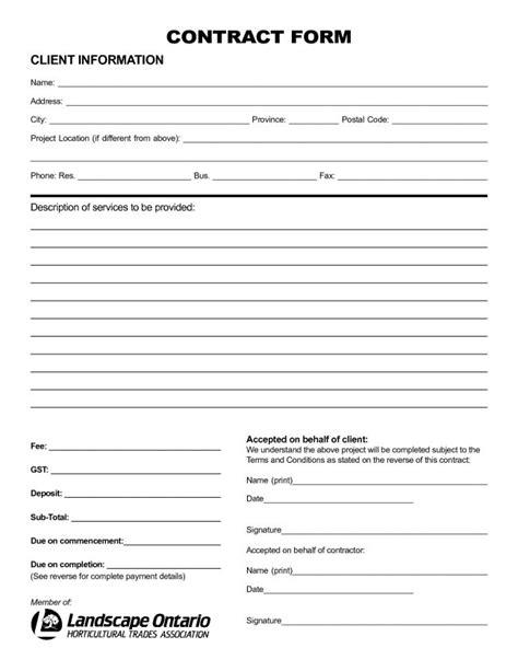nice sample  printable blank contract template