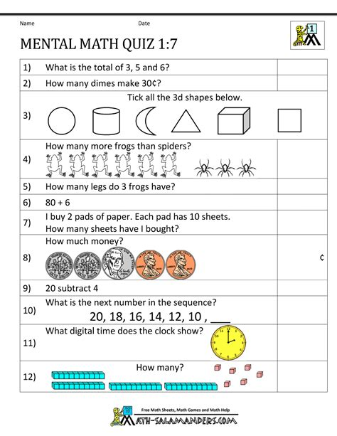 maths worksheet for class 1 grade mental math worksheets