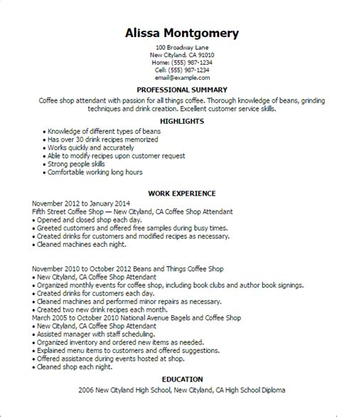 Coffee Shop Assistant Resume by Professional Coffee Shop Attendant Templates To Showcase