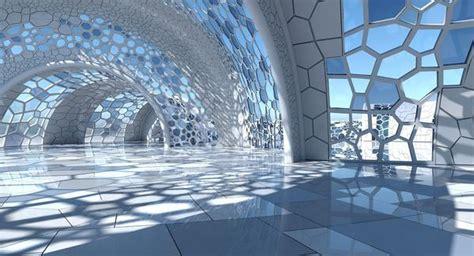 3d Futuristic Architectural Dome Interior 3 Wirecase