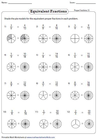 equivalent fraction worksheets