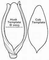 Corn Cob Template Coloring Crafts Thanksgiving Printable Preschool Pages Fall Harvest Ear Templates Cut Husk Sketch Ears Farm Craft Indian sketch template