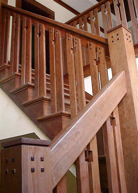 wood banisters craftsman staircase design artistic stairs
