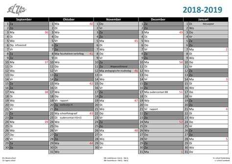 Staand Kalender 2019 Weeknummers Belgie Newspictures
