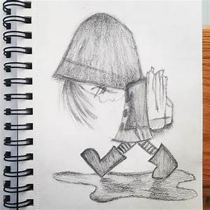 Alone Boy In Rain Drawing Pencils Pencil Drawing | Nikhil ...