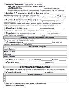 sacrament meeting agenda templates  bishoprics