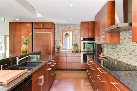 modern cherry kitchen cabinets contempo casual a modern house in the woods makes living 7586