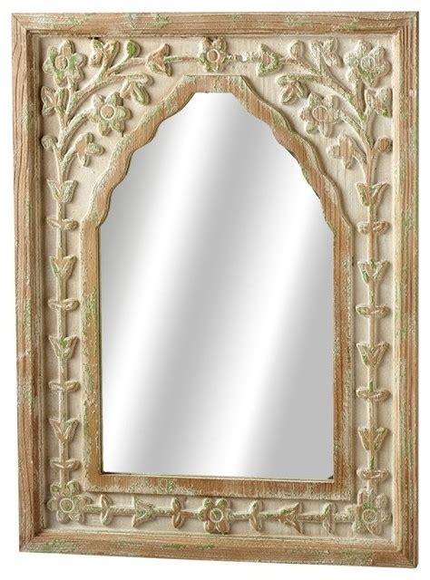 Uttermost Portici Mirror by Floral Arch Wall Mirror Distressed Ivory And Green