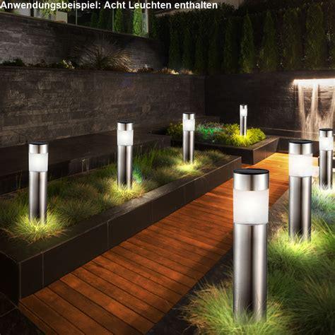 8er Set LED Solar Steck Leuchten Garten Weg Außen