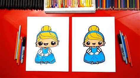 draw cute cinderella kawaii art  kids hub
