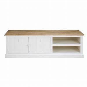 meuble tv 2 portes en manguier massif grise et blanc With meuble en manguier massif