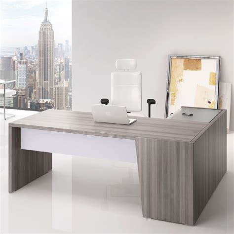 bureau d angle en verre bureau angle direction bois cèdre gris clair dimensions