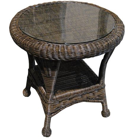 charm outdoor brown wicker side table 18 amazing side