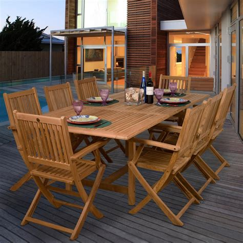 8 Person Outdoor Dining Table by Amazonia Teak Hamburg 8 Person Teak Patio Dining Set With