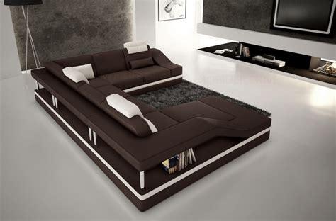 canap 233 d angle en cuir italien 8 places chocolat et blanc mobilier priv 233