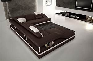canape d39angle en cuir italien 8 places perfect chocolat With tapis design avec canape cuir de luxe