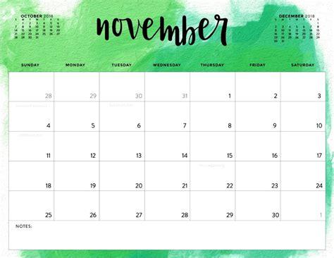 November 2018 Calendar Cute  Calendar Template Letter
