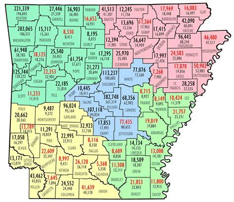 Arkansas Population Map by County