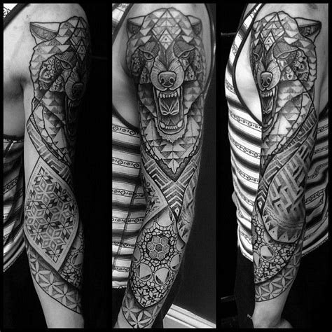 geometric wolf sleeve  started today  connor uktta equilattera rotaryworks