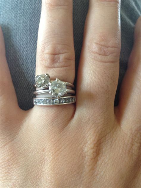Old Engagement Ring, Upgrade And Playing With Stacking. Palladium Rings. Meaningful Engagement Engagement Rings. Sparkle Engagement Rings. Clamp Rings. Husband And Wife Wedding Rings. Loin Rings. Super Cool Engagement Rings. Infected Rings