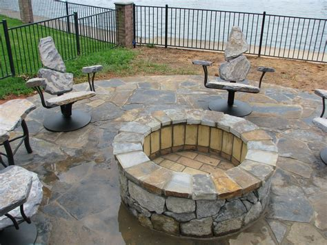 hand  fire pit chairs  stone  furniture