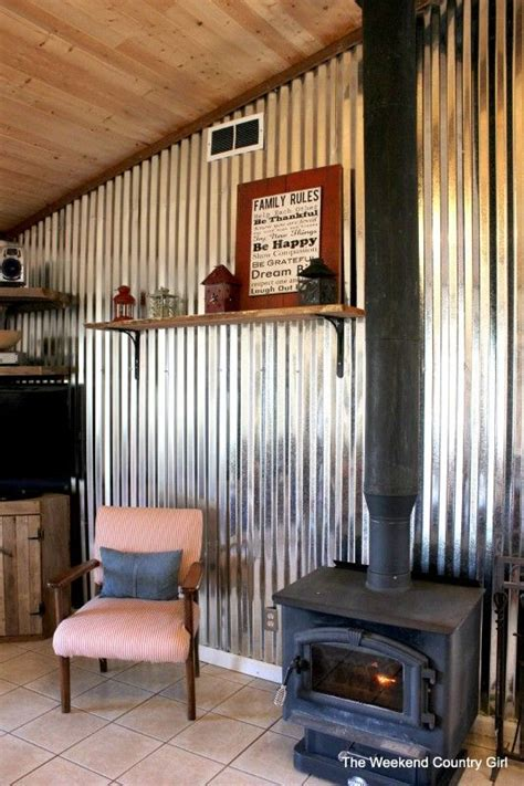 diy corrugated tin wall tutorial  weekend country