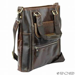 mens brown real leather tote cross body shoulder hand bag With ladies leather document bag