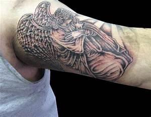 Kneeling angel tattoo on half sleeve - Tattooimages.biz