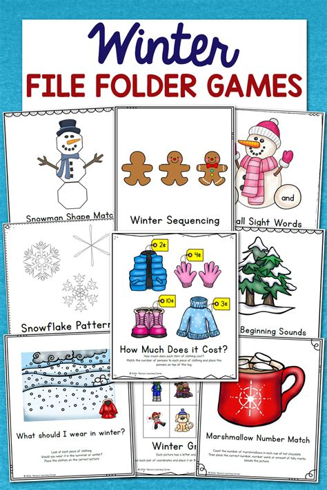 low prep winter file folder set of 10 activities 780 | Winter File Folder Games