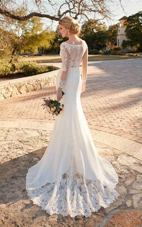 Long Sleeve Illusion Lace Hollywood Inspired Wedding Dress