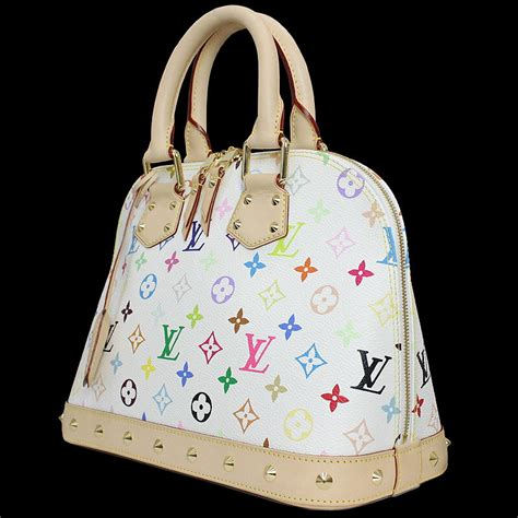 louis vuitton lv monogram multicolor murakami white alma