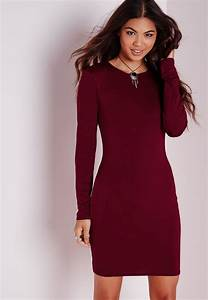 missguided long sleeve jersey bodycon dress burgundy in With robe moulante manche longue