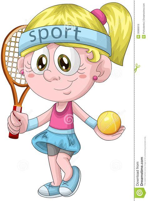 girl tennis player character cartoon style illustration