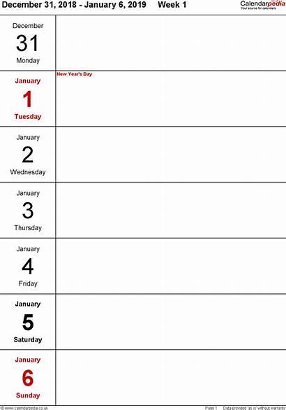 Calendar Weekly Printable Week Word Planner Template