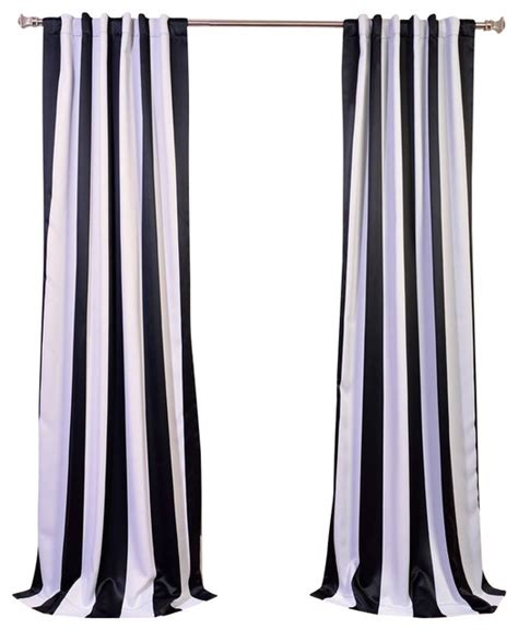 awning black white stripe blackout curtain single panel
