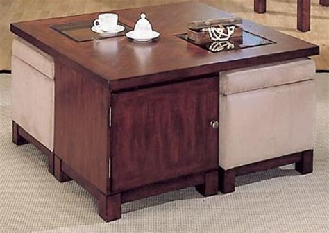 pearson square coffee table with storage ottomans   Unique Coffee Tables