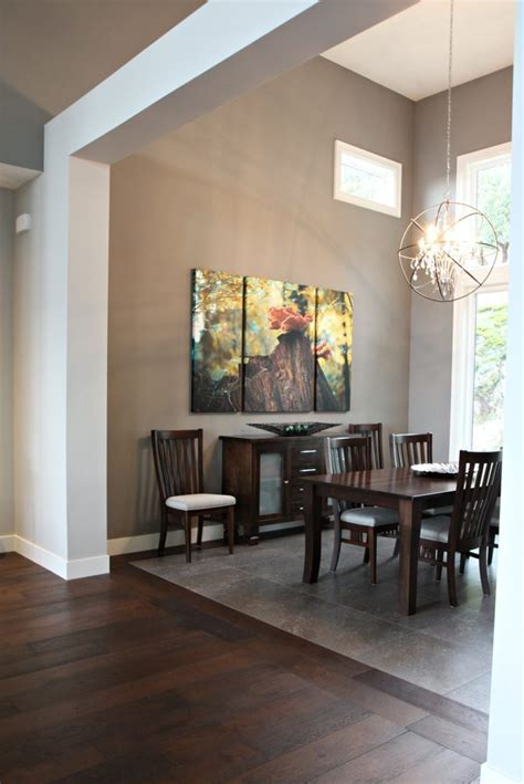 Contemporary dining room with beams, tile inlay, Sherwin