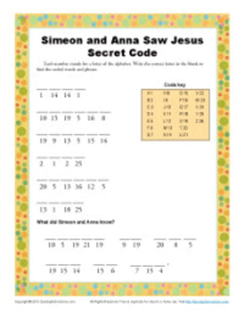 simeon  anna secret code kids ministry printable