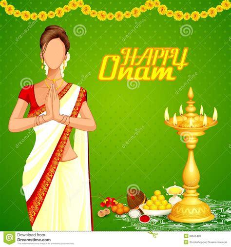 lady wishing happy onam royalty  stock image image