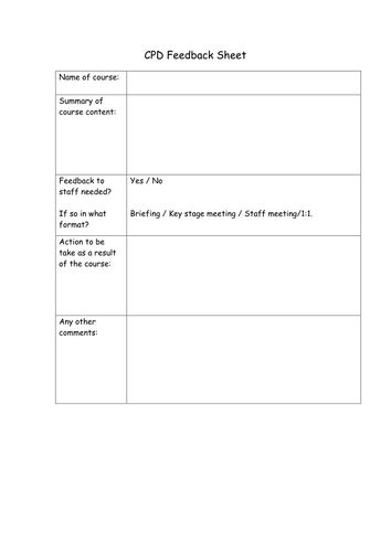 cpd feedback form teaching resources