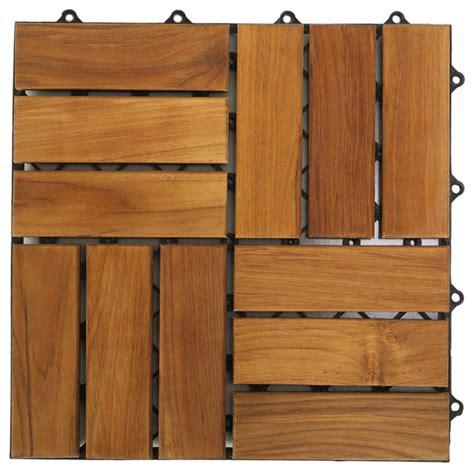 interlocking wood floor tiles teak set of 10