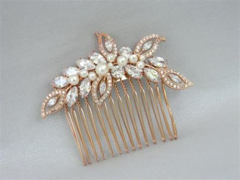 Rose Gold Hair Comb, Bridal Hair Comb, Pearl Bridal Comb