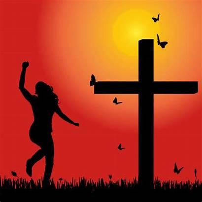 Silhouette Woman Vector God Praising Praise Lord