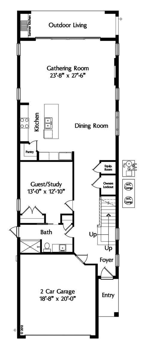 contemporary style house plan bed bath car garage narrow house plans