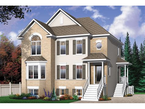 Multi Family House : Geary Place Triplex Townhouse Plan D-| House Plans