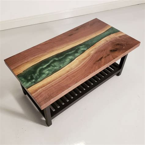 Get free shipping to the 48 continental states Walnut & Epoxy River Coffee Table   Amish Live Edge Coffee Table   Amish Furniture - Country ...