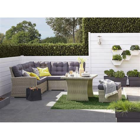 Salon de jardin Daveport ru00e9sine tressu00e9e gris 1 table 1canapu00e9 et 1 pouf | Leroy Merlin