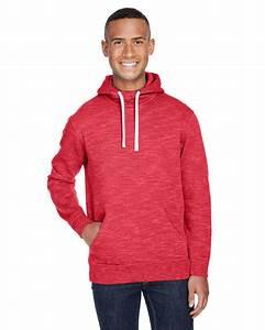 J America Mens Melange Fleece Pullover Hood  Ja8677